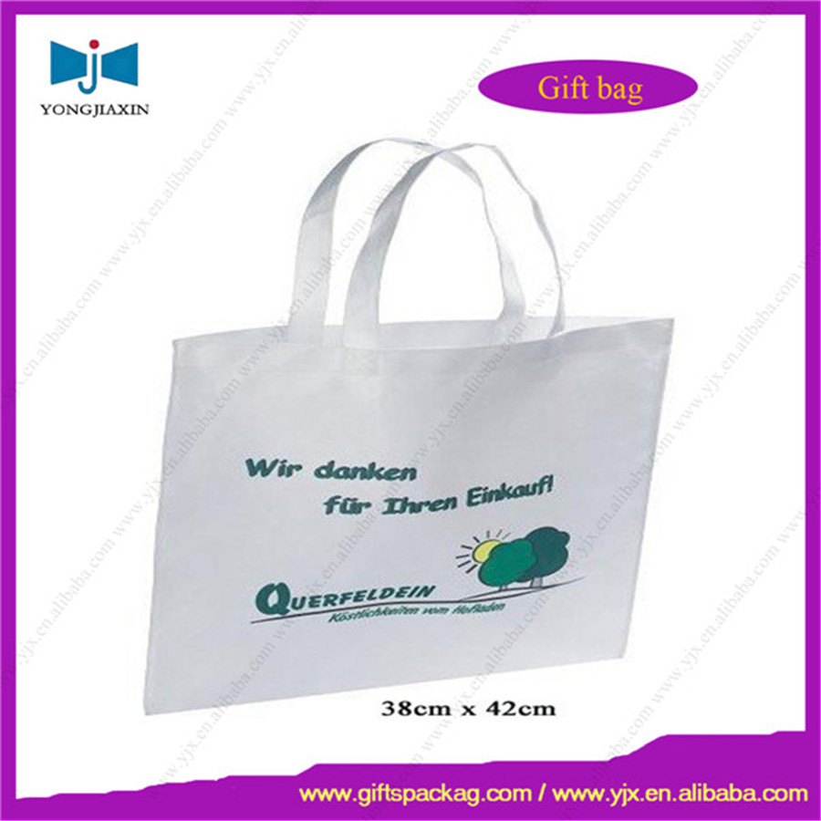 non-woven white bag,non-woven shopping pouch with green logo