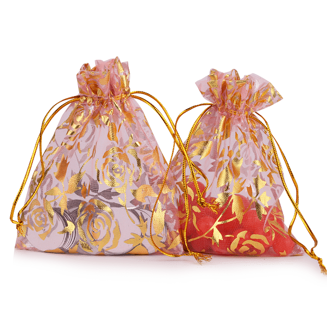small organza bags gold printing organza pouch bags for Jewelry packaging bag