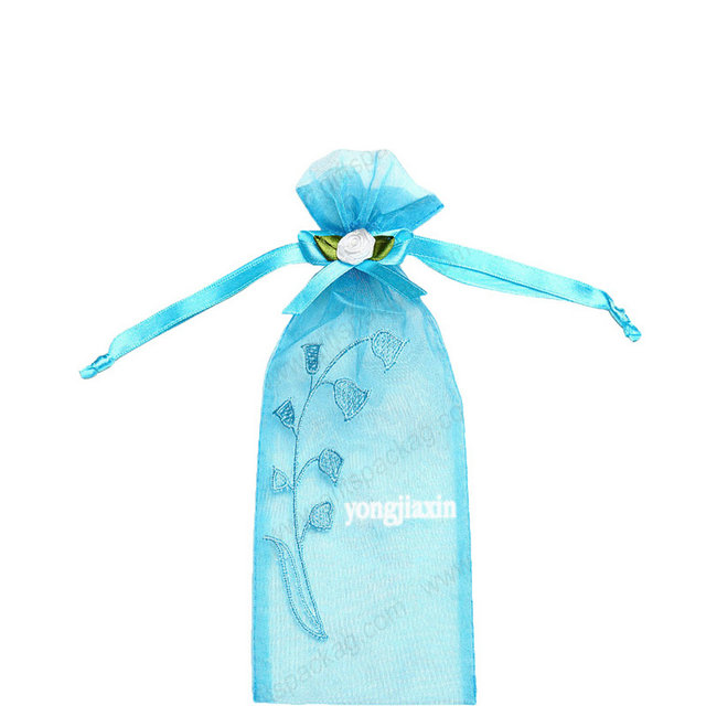 Custom blue organza cosmetics bags