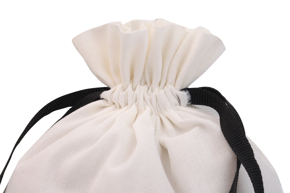 White cotton fabric bag with drawstring bag