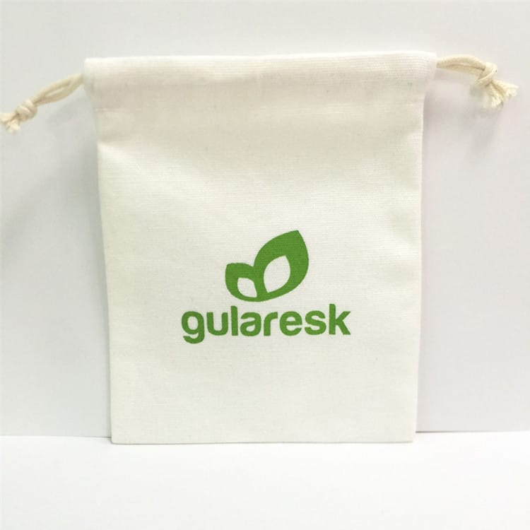 Samll custom cotton bag with green logo printing