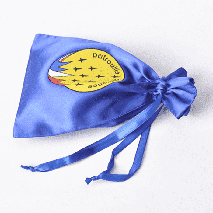 Blue jewelry satin bag with logo