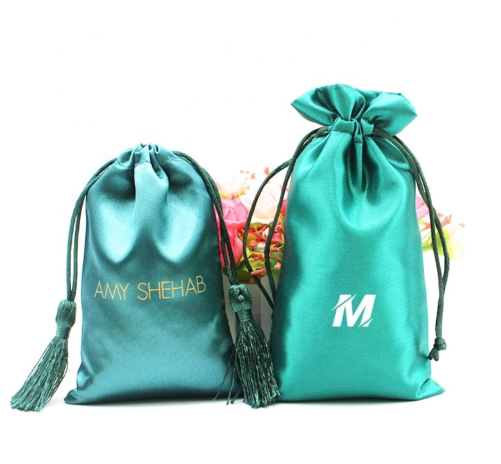 Custom satin bags hair weave packaging bag silk bags for hair extensions