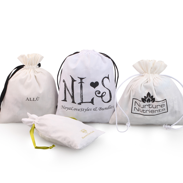Natural muslin cotton fabric drawstring bag for jewelry accessories