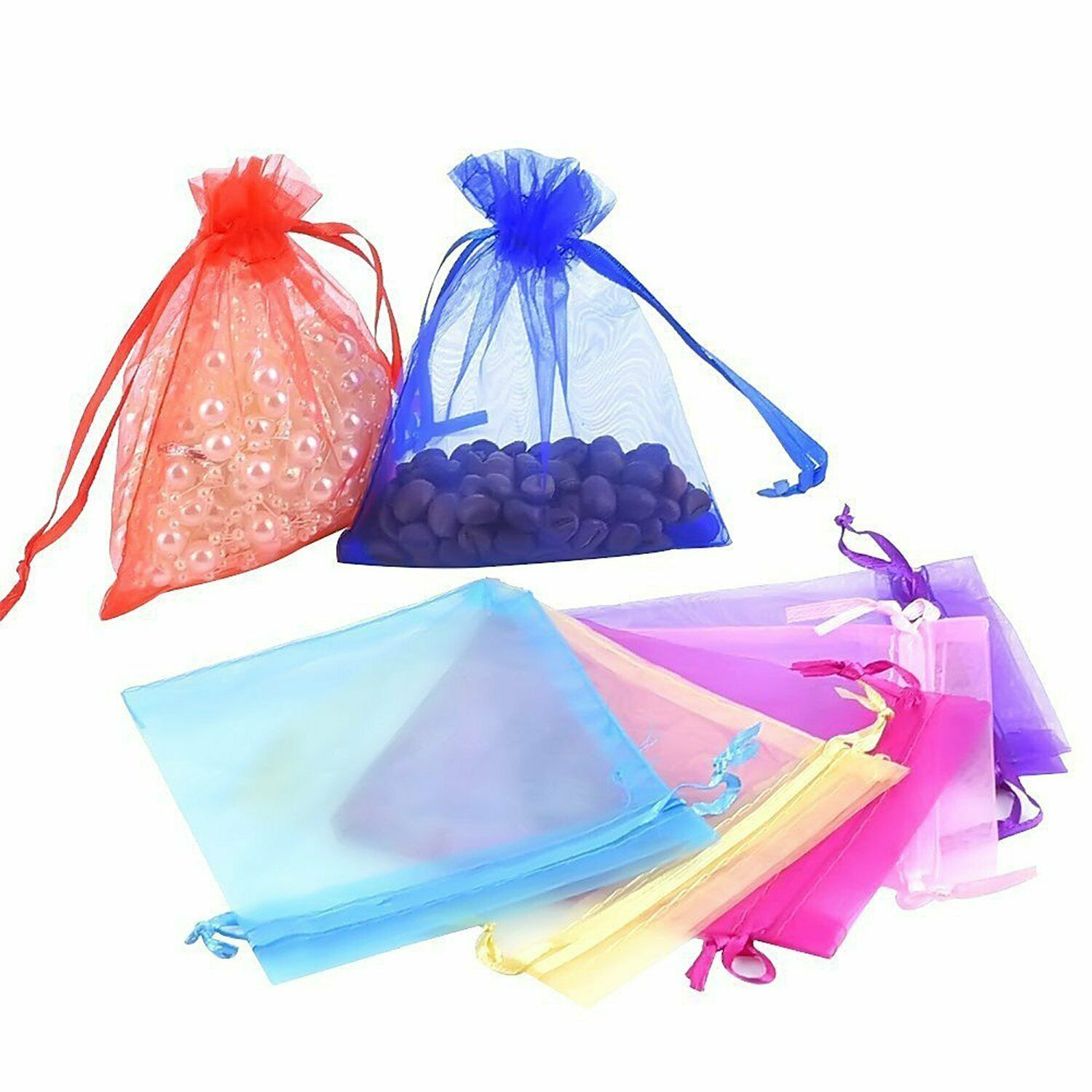 Organza Bags Jewellery Pouches Wedding Favour Party Mesh Drawstring Gift
