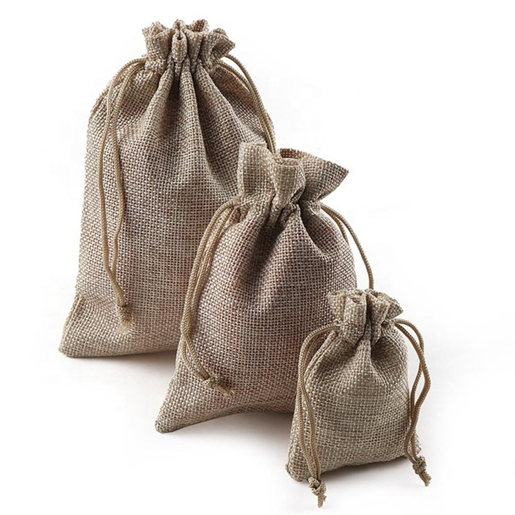 cheap high quality red wine gift drawstring jute bag