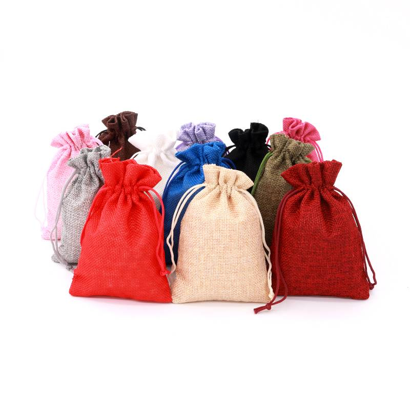 Cotton solid color mini hemp jute drawstring bag