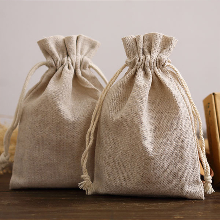 Wholesale custom printed cheap manufacturers small jute drawstring pouch