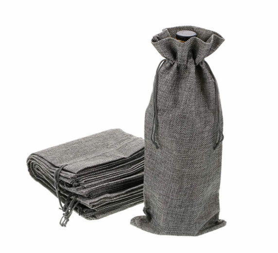 Reusable Washable Jute Wine Bottle Bags Drawstring Bag Gray Burlap Gift Bag