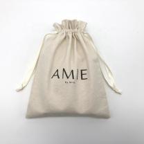 Custom cotton muslin drawstring bags with black printed logo