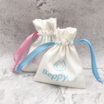 Natural color customized cotton jewelry drawstring bag