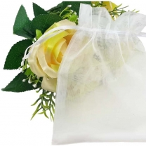 Transparent white drawstring organza jewelry bag for wedding party christmas gift packaging