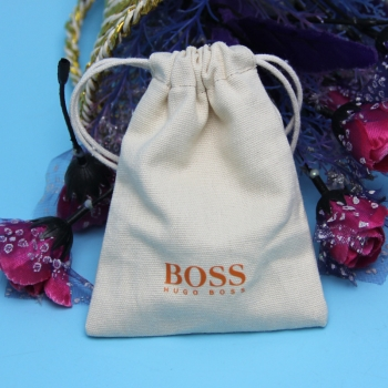 small linen drawstring cotton bags jewelry pouch with printed logo
