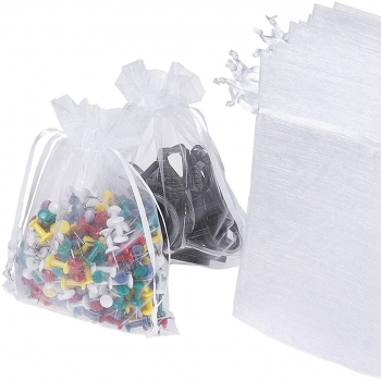 Custom white silk organza drawstring pouch gift bags with ribbon