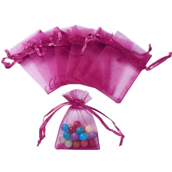 custom rose gold organza bags for jewelry packaging with logo printing