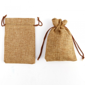 Gift Packing Bag Drawstring Burlap Jute  Linen Pouch Bag With Logo