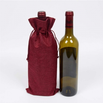 Wholesale linen with drawstring reusable burlap wine jute bag
