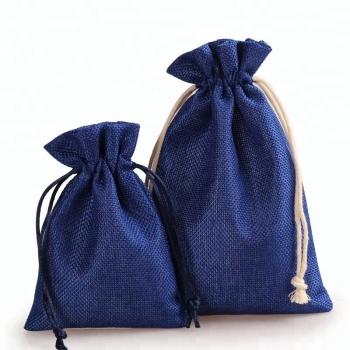 Small reusable logo printed gift drawstring linen jute bag
