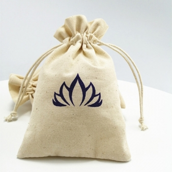 Free sample white muslin drawstring cotton pouch with gold logo
