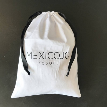 Custom promotion white cotton bags jewelry packaging pouches