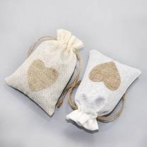 Linen Gift Bag Festival Party Simple Pouch Jute Heart