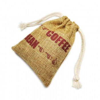 Screen Printing Logo Drawstring Jute Pouch Bag for Coffee Bean