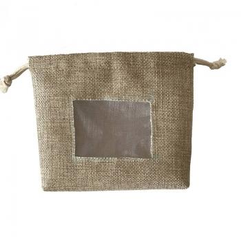 Custom logo square bottom linen drawstring pouches with organza window