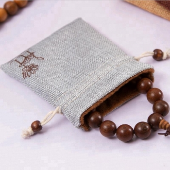 custom small jute linen muslin drawstring gift bag jewelry pouch bag