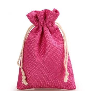 Low price printed jute pouch drawstring promotional pouch bag