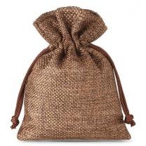 Eco-friendly Custom Logo printed linen pouch Drawstring Gift Bag