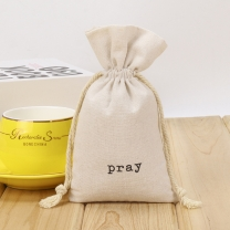 Custom Logo Natural Canvas Cotton Gift Organic Dust-Proof Shoe Storage Pouch