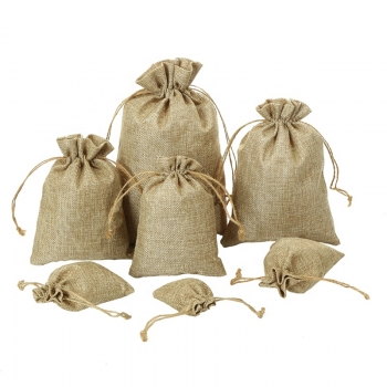 Customized jute gift hessian jute drawstring packaging bag
