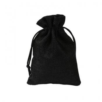 Black Small Gift Packing Bag Drawstring Burlap Gift Pouch Bag