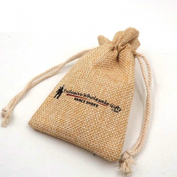 Economic cheap Natural Linen Jute Sack Coffee Gift gold drawstring pouch