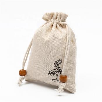 Small jute drawstring pouch burlap drawstring bag with logo