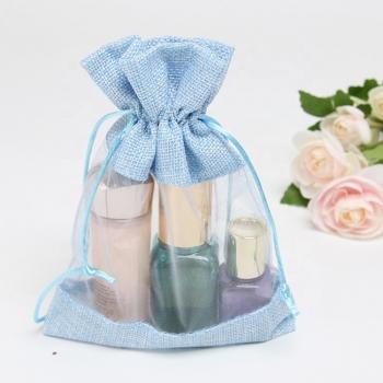 Burlap Jute Drawstring Bags Jewelry Pouches Promotional Jute Organza Window Bags