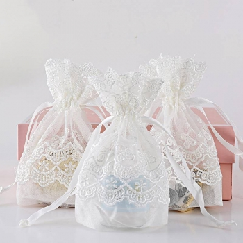 White Maple Lace Bags Drawstrings Pouches Organizer Jewelry Bags Wedding Favor candy Cookies Gift organza Bag