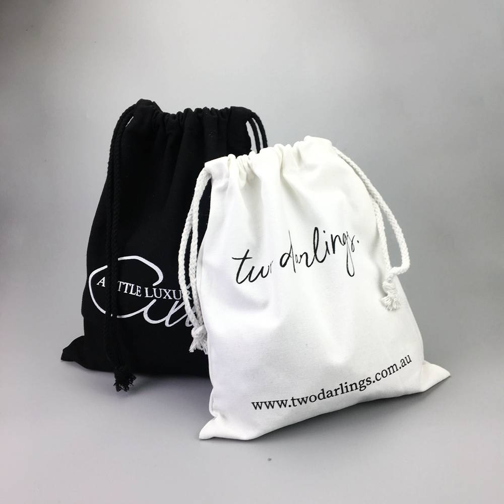 Customized Eco friendly jewelry white cotton gift pouch drawstring bags
