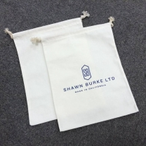 Customized logo recycled natural cotton muslin fabric drawstring bags