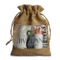 Customized Printing Fashion Natural Drawstring Pouch Jute Cosmetic Bag With PVC Window