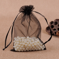 Black Custom Organza Bags Jewelry Bags Large Drawstring Gift Bags Pouches For Wedding Favors Bag