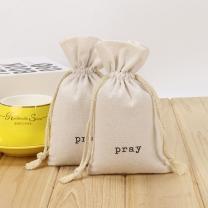 Cheaper custom logo cotton muslin small size drawstring bag