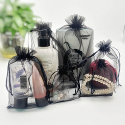 organza gift bag black Drawstring Organza Bags small Pouches Jewelry display Packaging yarn Gift Bag
