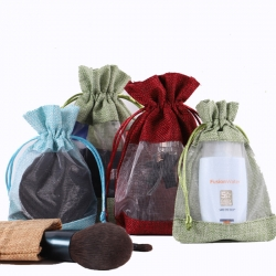 Custom Linen Organza Bag Canvas makeup jewelry drawstring pouch bag with logo printing