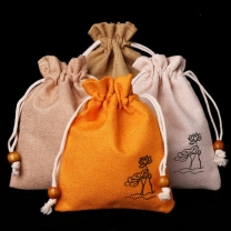 Small Drawstring Gift Bag Custom Cotton Beads Storage Small Cloth Jewelry Pouch