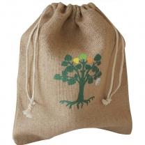 Reusable custom organic jute bag muslin drawstring pouch