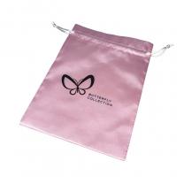 custom logo satin bag with drawstring satin ribbon