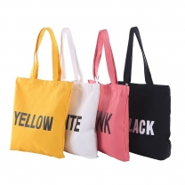Customized Black Cotton Canvas Tote Bag Recycled Shopping Shoulder Grocery Bags