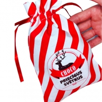 custom 8oz 100% cotton fabric pouch with full red printed logo