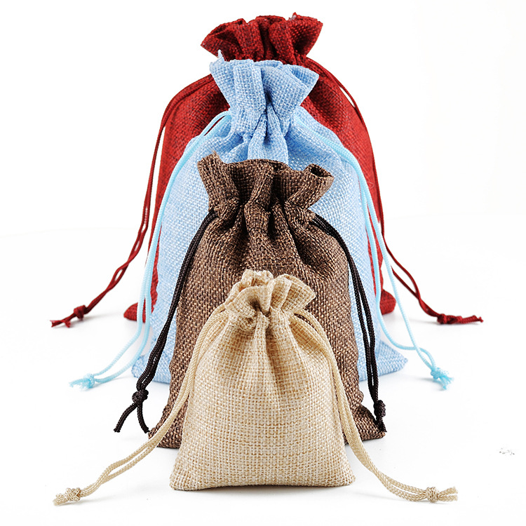 Promotional Gift Custom Color Cheap Cotton Linen Small Drawstring Canvas Bag